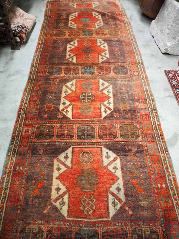 Hand knotted Malatyer wool runner from Eastern Turkey. Approximately 90 years old