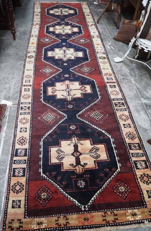 Turkish Wool Carpet Malatyer Runner, 60 years Approximately