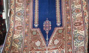 Hand made double knotted Turkish Kayseri wool carpet. Unusually intense blue, very finely woven, Large sized prayer rug.