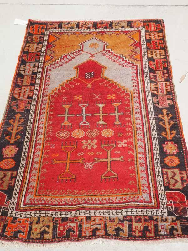 Finely knotted Turkish wool on wool double Niche Prayer rug: Malatyer Cihanbeyli. Approximatley 120 years old