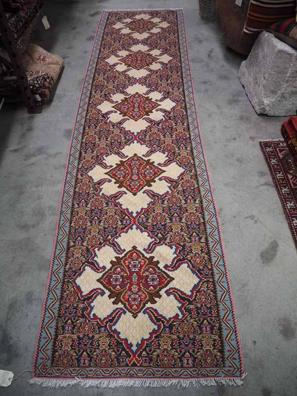 Wool on wool hand kotted Persian Senneh Kilim