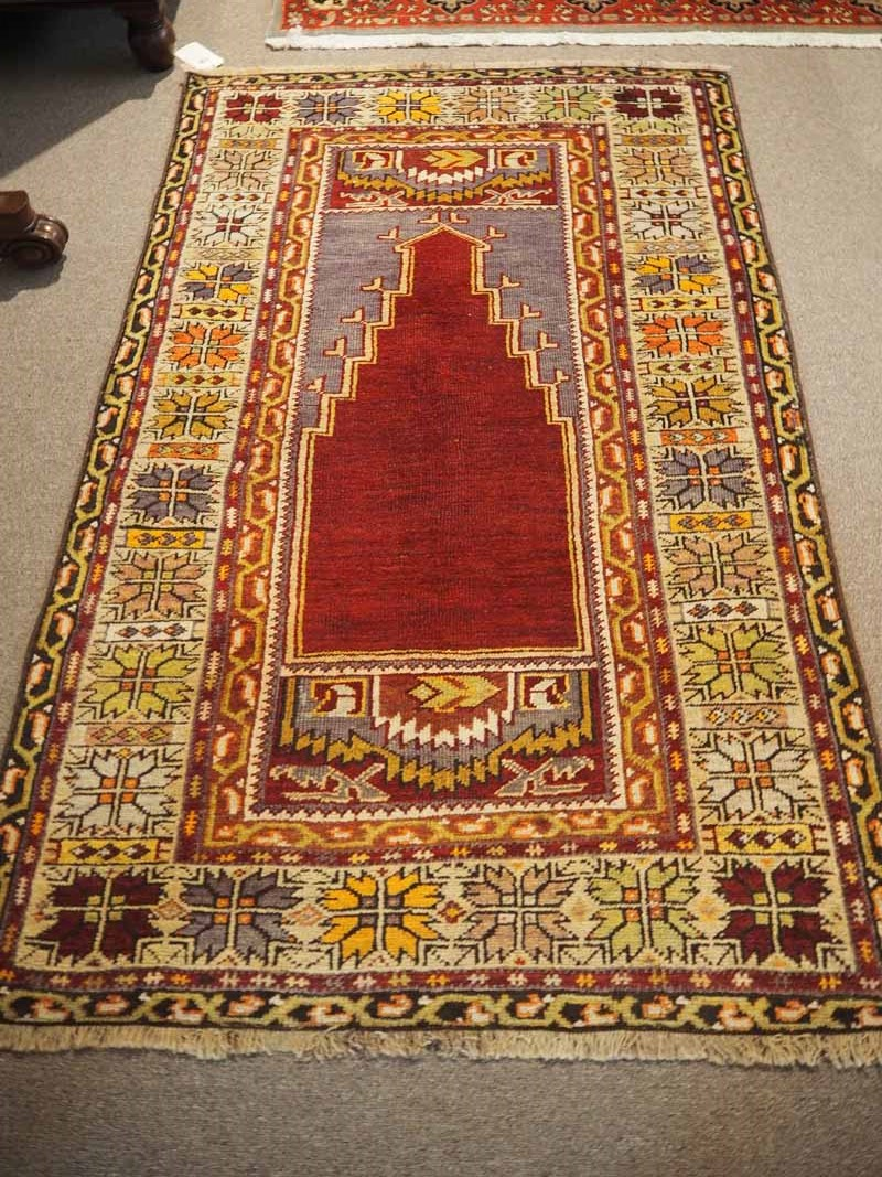 A wool on wool double knotted hand made Turkish Carpet from Nigde, Approximately 70 years old