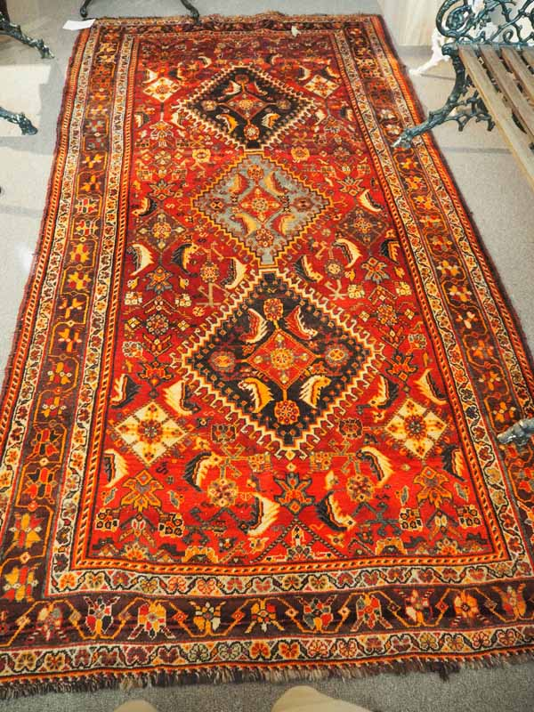 Wool on wool hand knotted Persian Carpet from Shiraz, approximately 60 years old