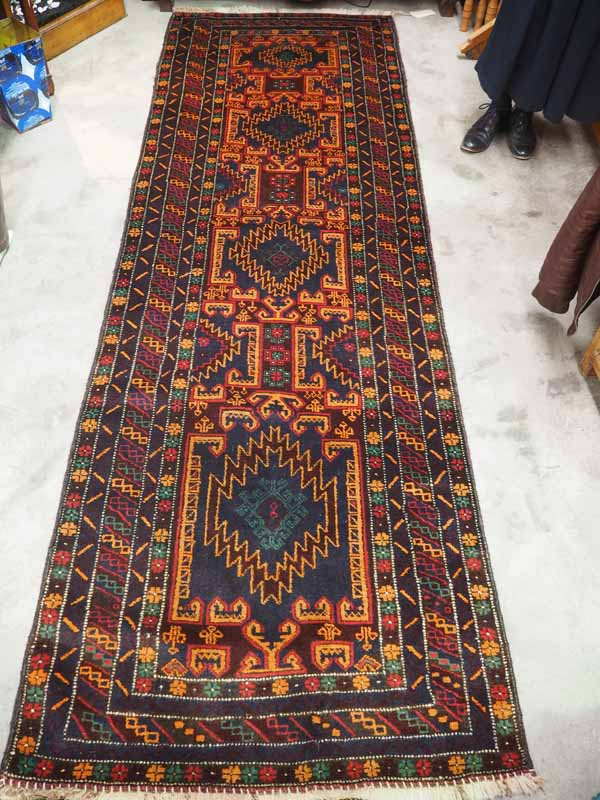 Hand knotted wool on wool Afghan Belouch Runner/ Approximately 60 years old