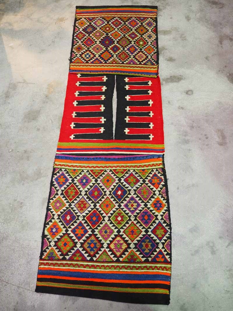 Hand knotted wool on wool Kilim Saddle bag from Usak, Turkey. Approximatley 60 years old
