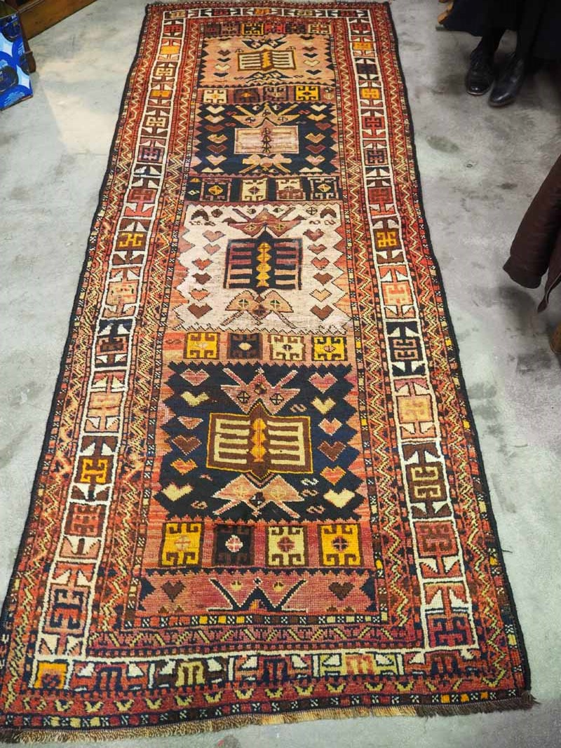 Double knotted wool on wool hand made Turkish carpet from Konya Shafak. Approximatley 100 years old