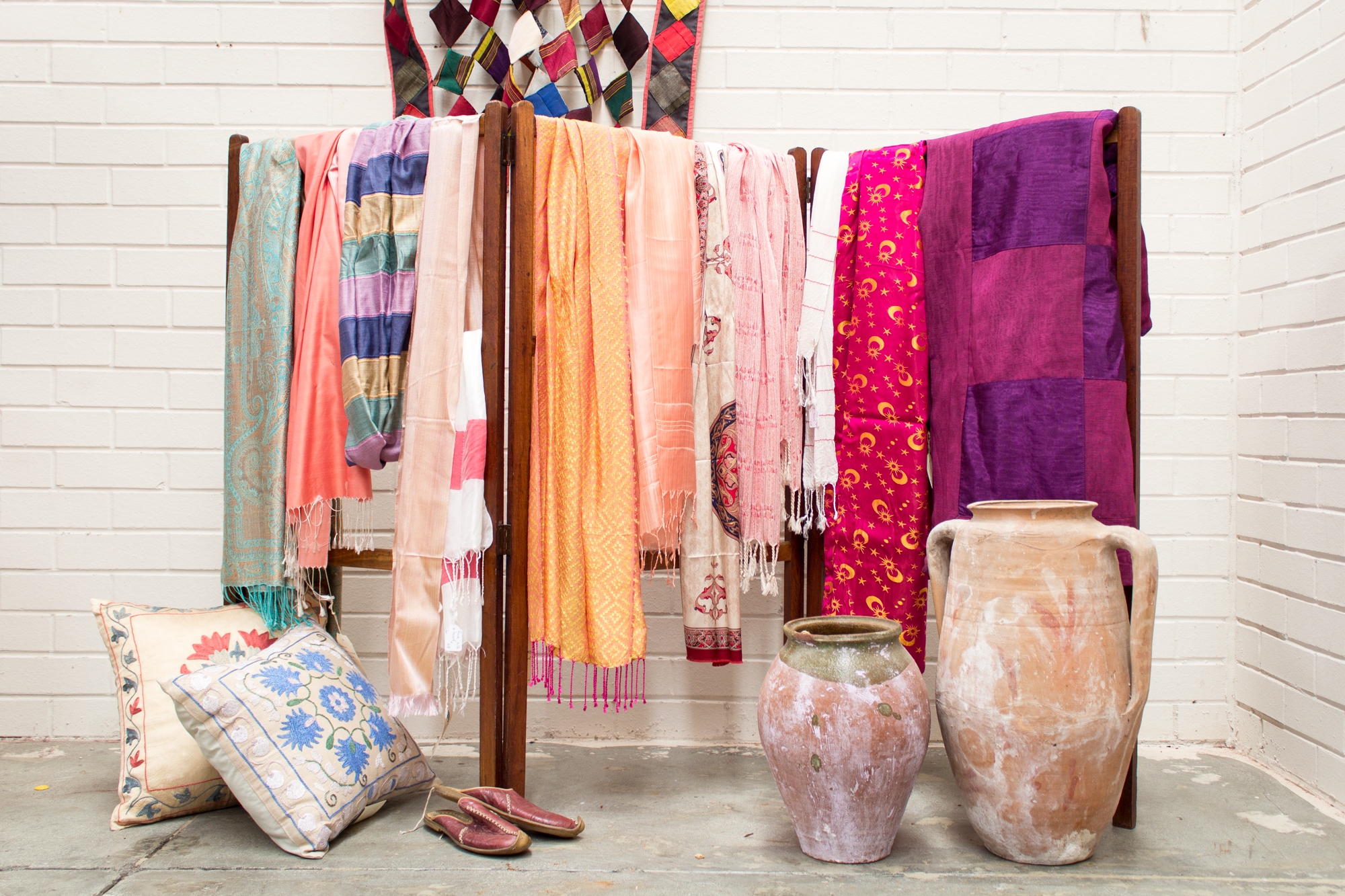 range of Turkish scarves and fabrics