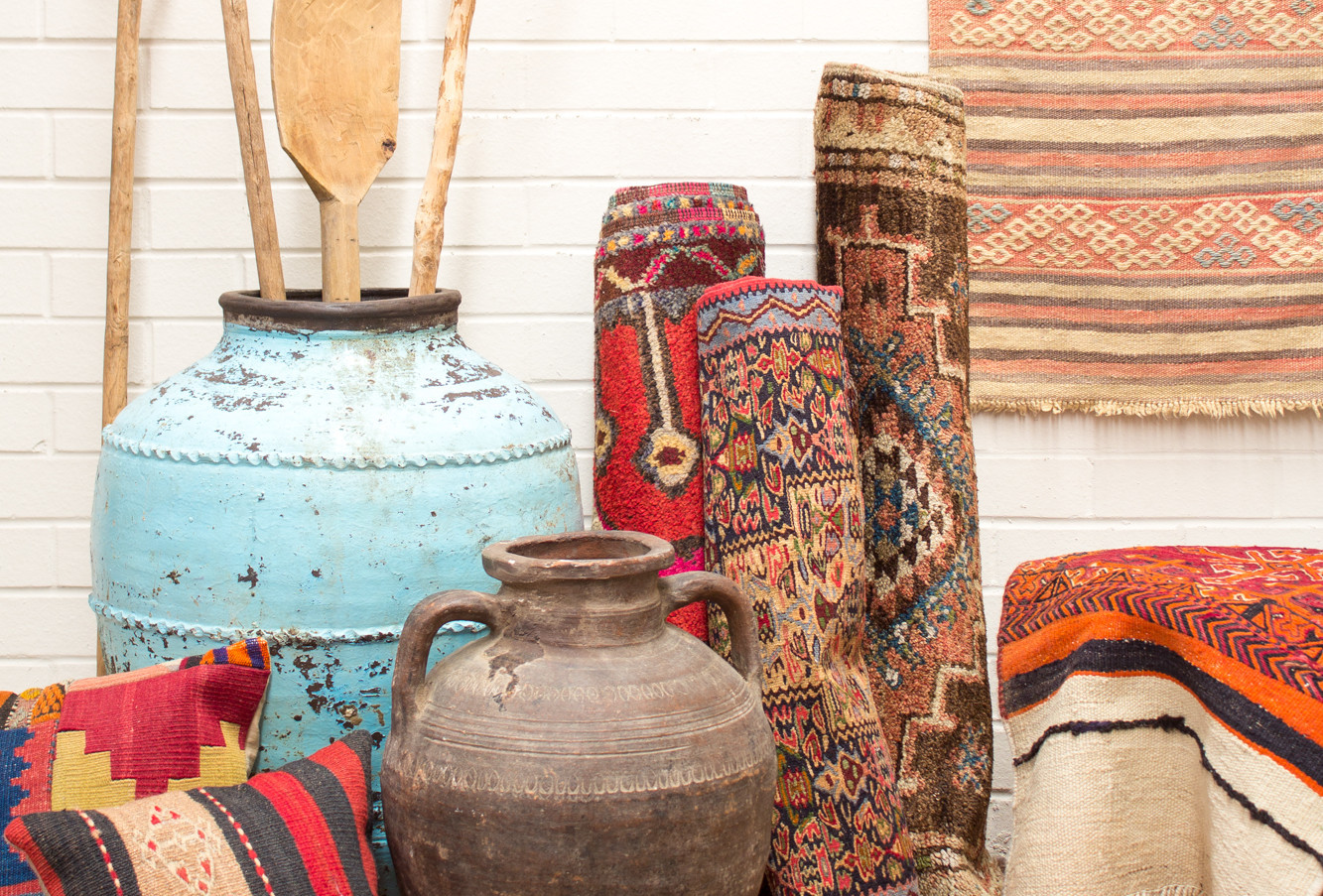Ottoman Empire and Turkish Rugs and Pots, along with cushions and lovely homewares