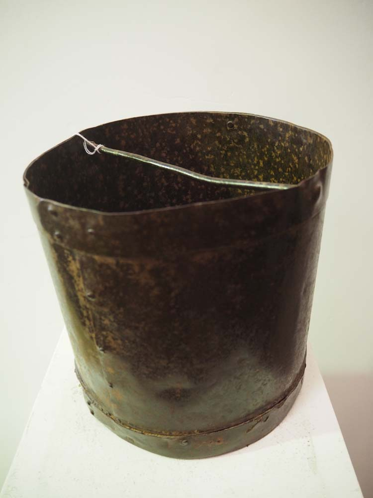 Antique Vintage metal homewares grain bucket