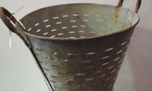Vintage Turkish Galvanized olive/grape washing basket
