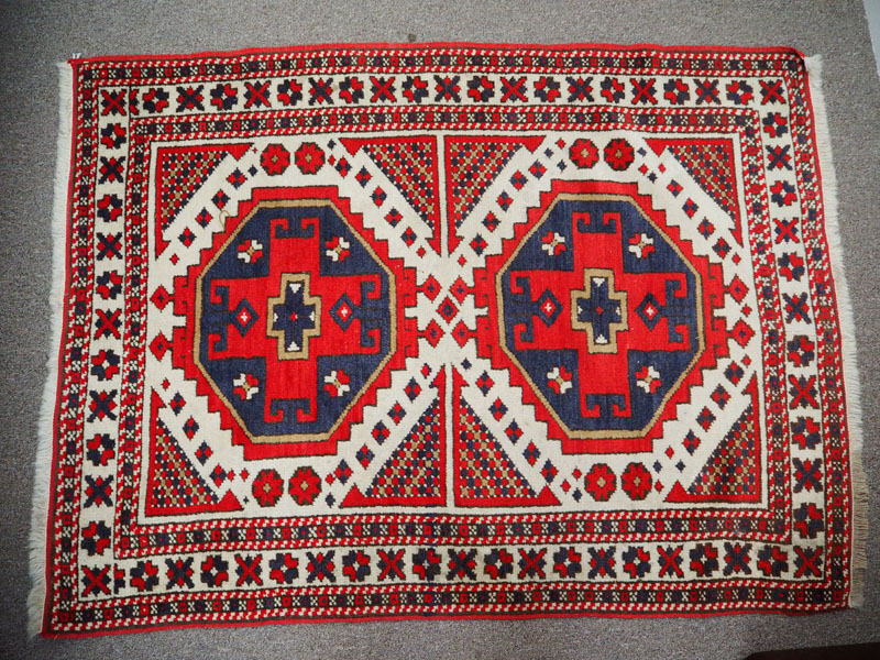 Hand knotted wool on wool caucasian carpet, Kazak tribe approximately 70 years old