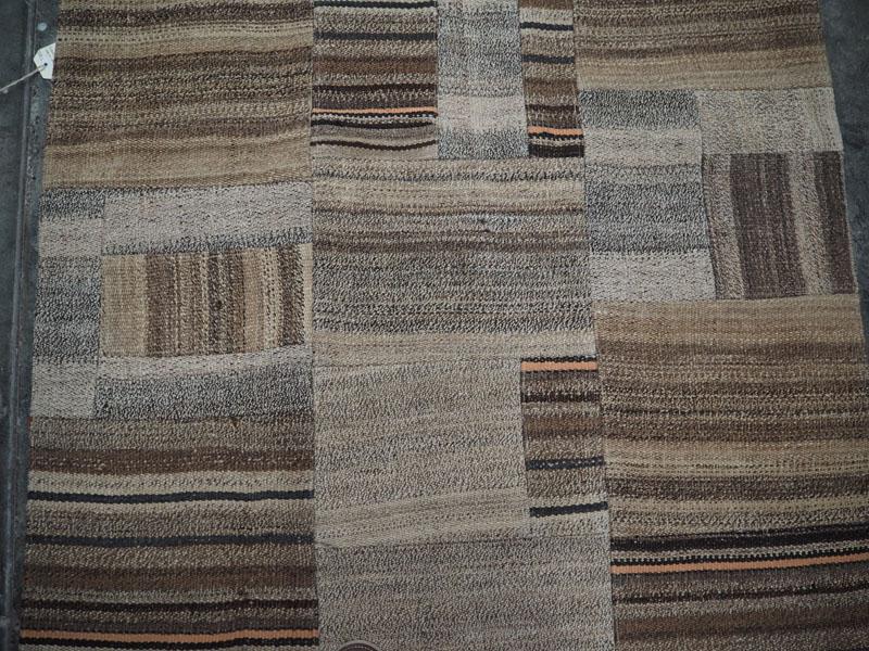 Turkish hand knotted Goat hair patchwork carpet, vintage Konya Goat & Sheeps wool kilims