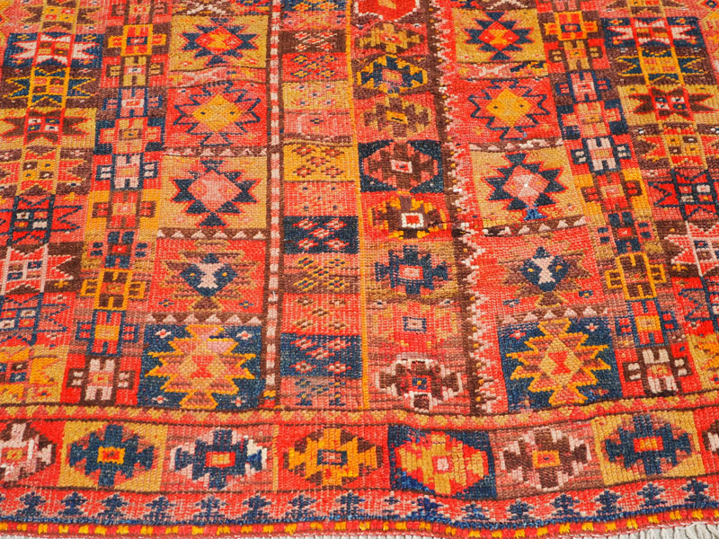 wool on wool hand knotted Kurdish rug, approximately 120 - 150 years old