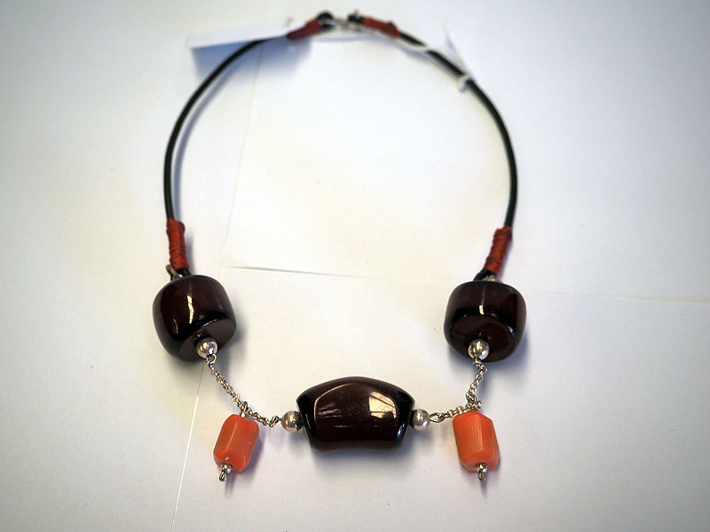Amber, Coral & silver necklace