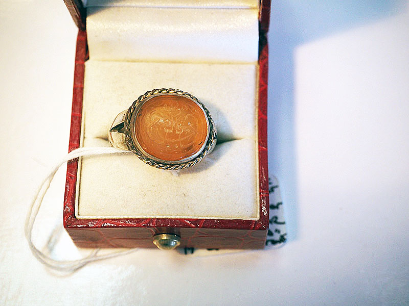 19th century stone set in silver ring