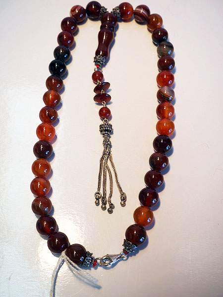 Antique Middle eastern agate bead set with sterling silver necklace