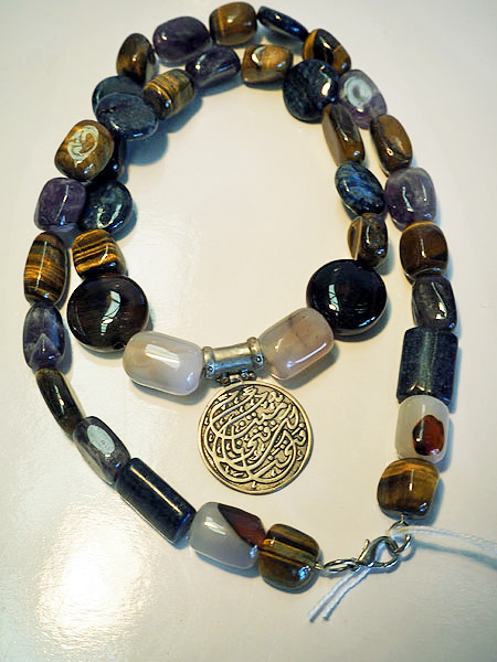 Silver Syrian pendant with mixed stoned necklace