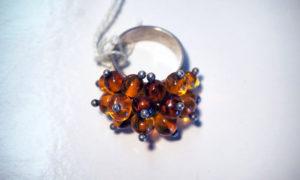 Turkish Vintage amber & silver ring