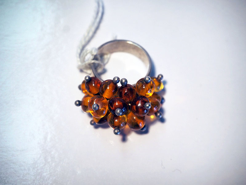 Turkish Vintage amber & silver ring