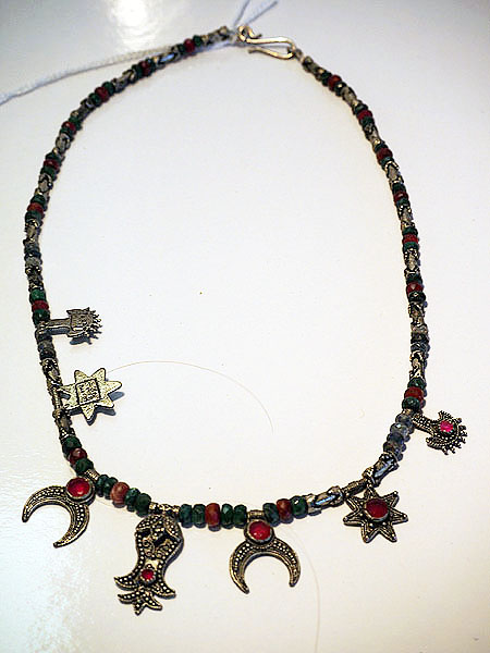 Vintage Turkish necklace with silver & semi precious stones