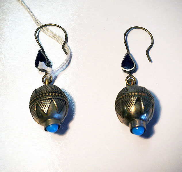 Turkoman silver, lapis & Turquoise Earrings