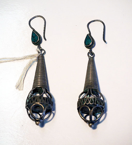 Turkoman Silver & Turquoise Earrings