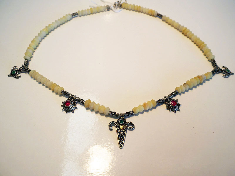 Turkish Yellow Jade & Silver necklace