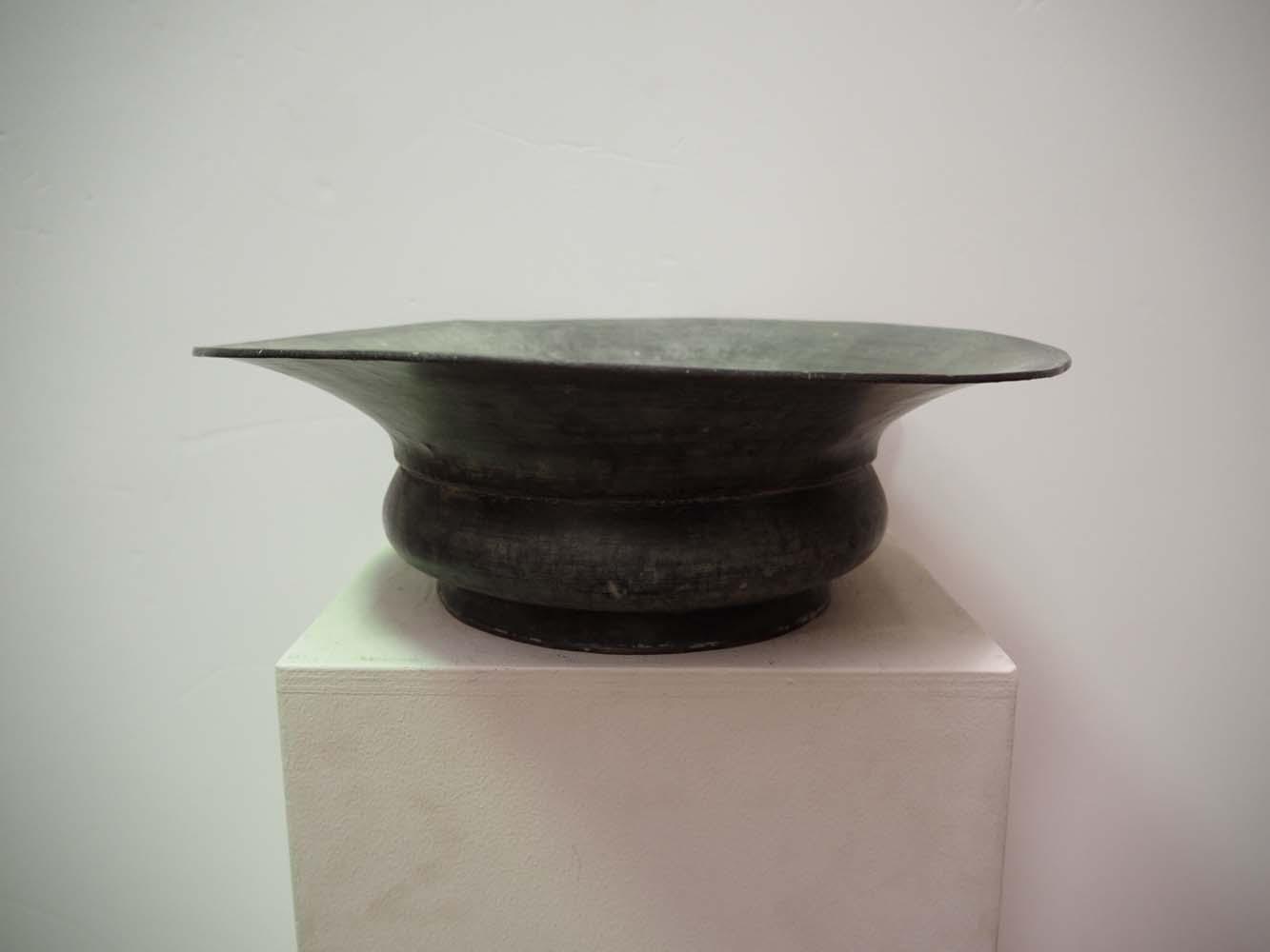 Antique Ottoman metal work homeware tinnec copper engraved bowl