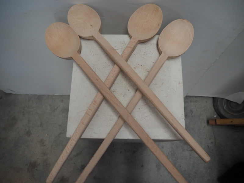 Large Hand made Beech wood spoons