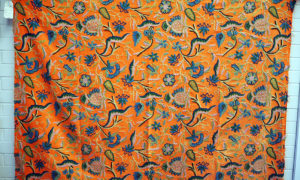 Very finely embroidered wool on hand-loomed cotton dowry piece, Early 20th century