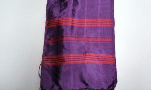 Hand loomed silk purple scarf from Bursa