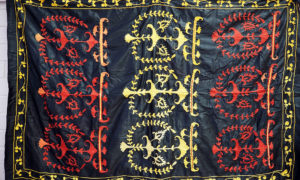 Very Finely embroidered Uzbeki cotton on glazed cotton hanging