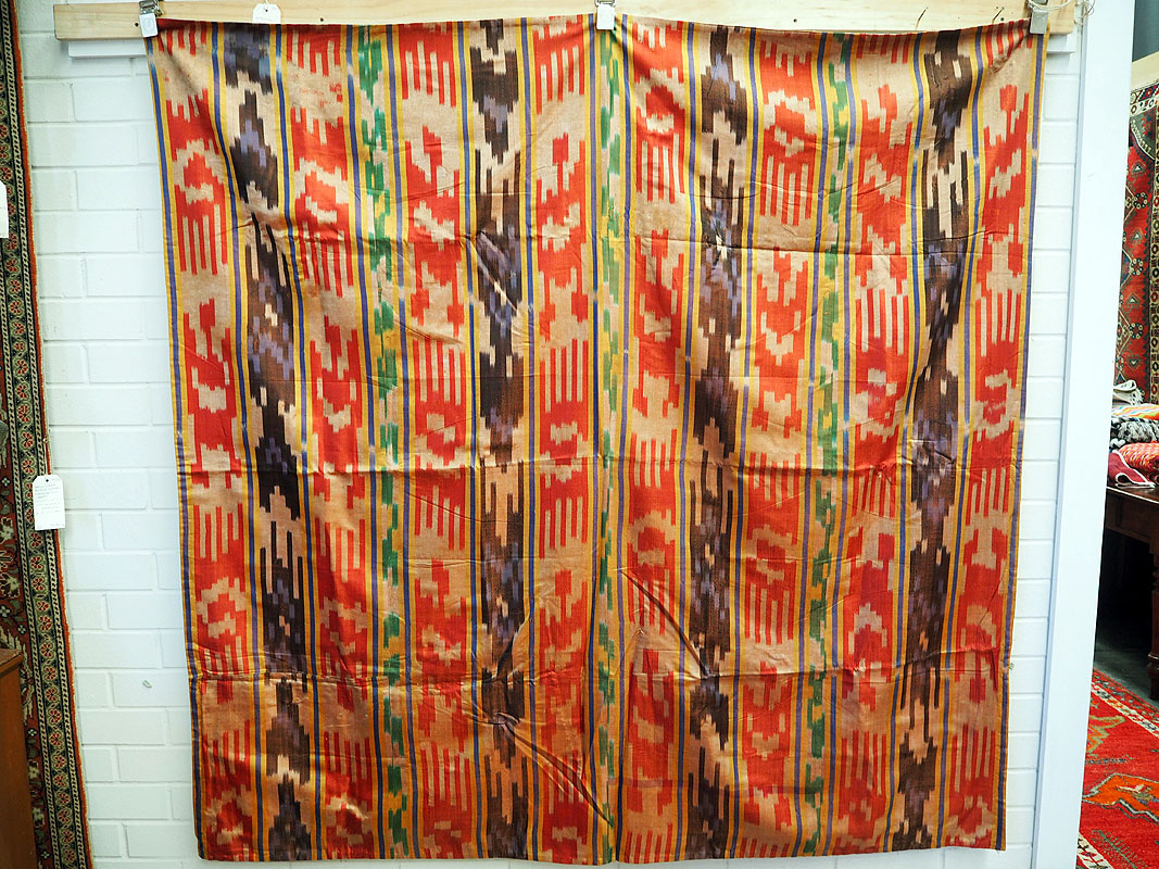 Fine antique hand loomed silk Ikat bead spread c.1930