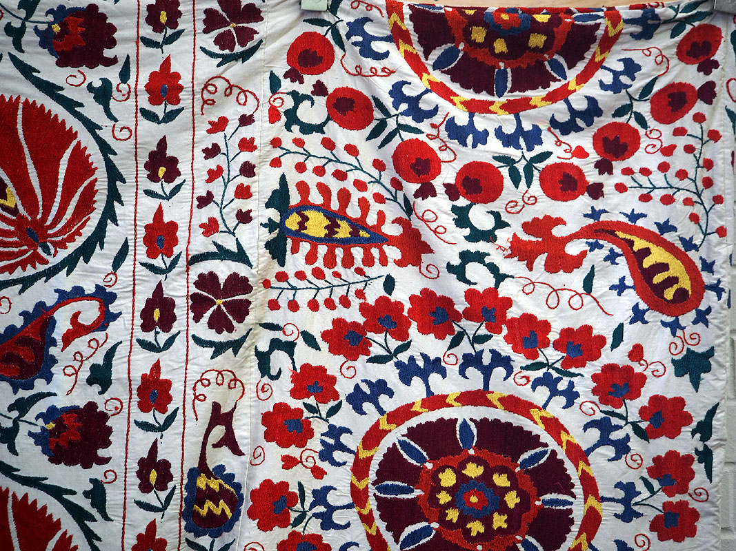 Very finely embroided suzani bed spread from Uzbekistan, silk on cotton