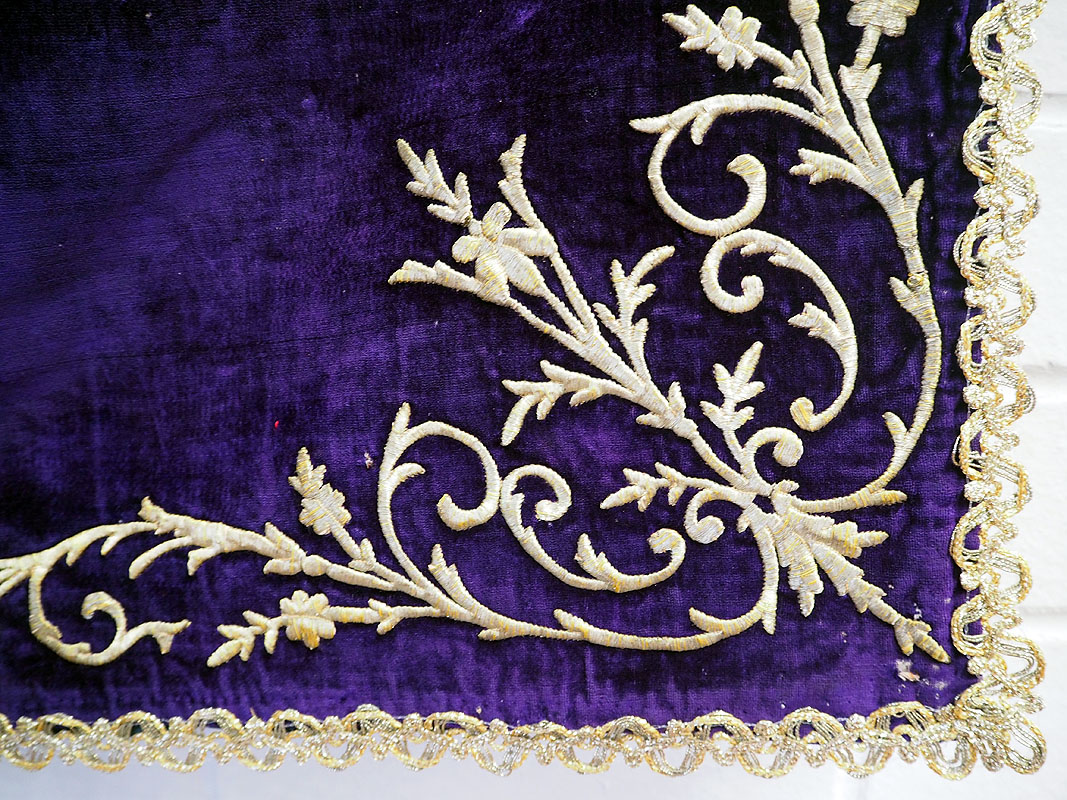 Gold thread Embroidered Silk Velvet Ceremonial cover, 19th century Ottoman