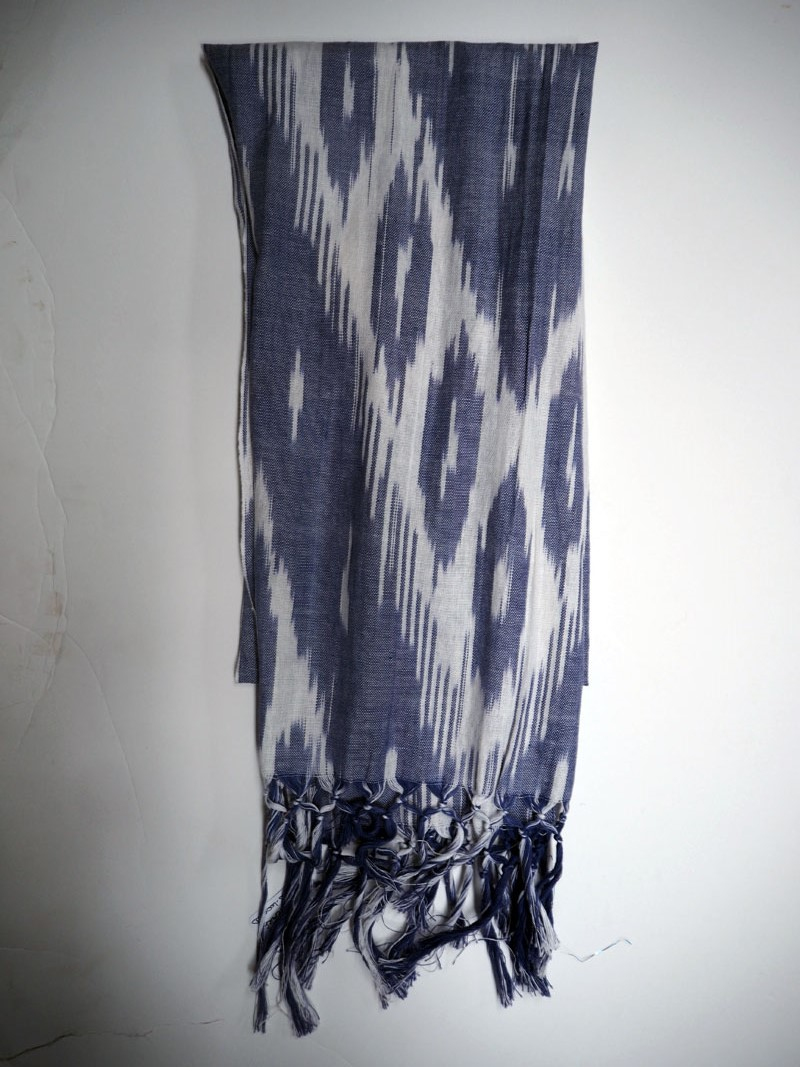 Turkish cotton ikat hand loomed scarf