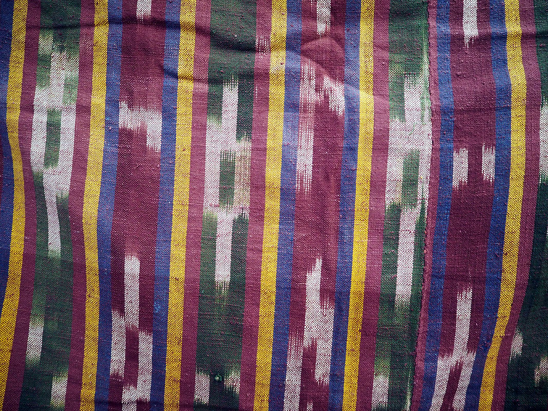 Early 20th century hand loomed cotton Ikat cover