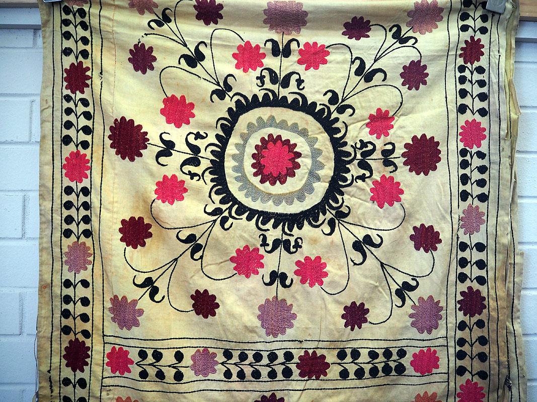 Vintage Uzbeki patchwork & hand embroidered bed cover