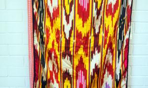 Vintage Uzbeki Hand loomed silk Ikat Kurpa from Tashkent c.1970