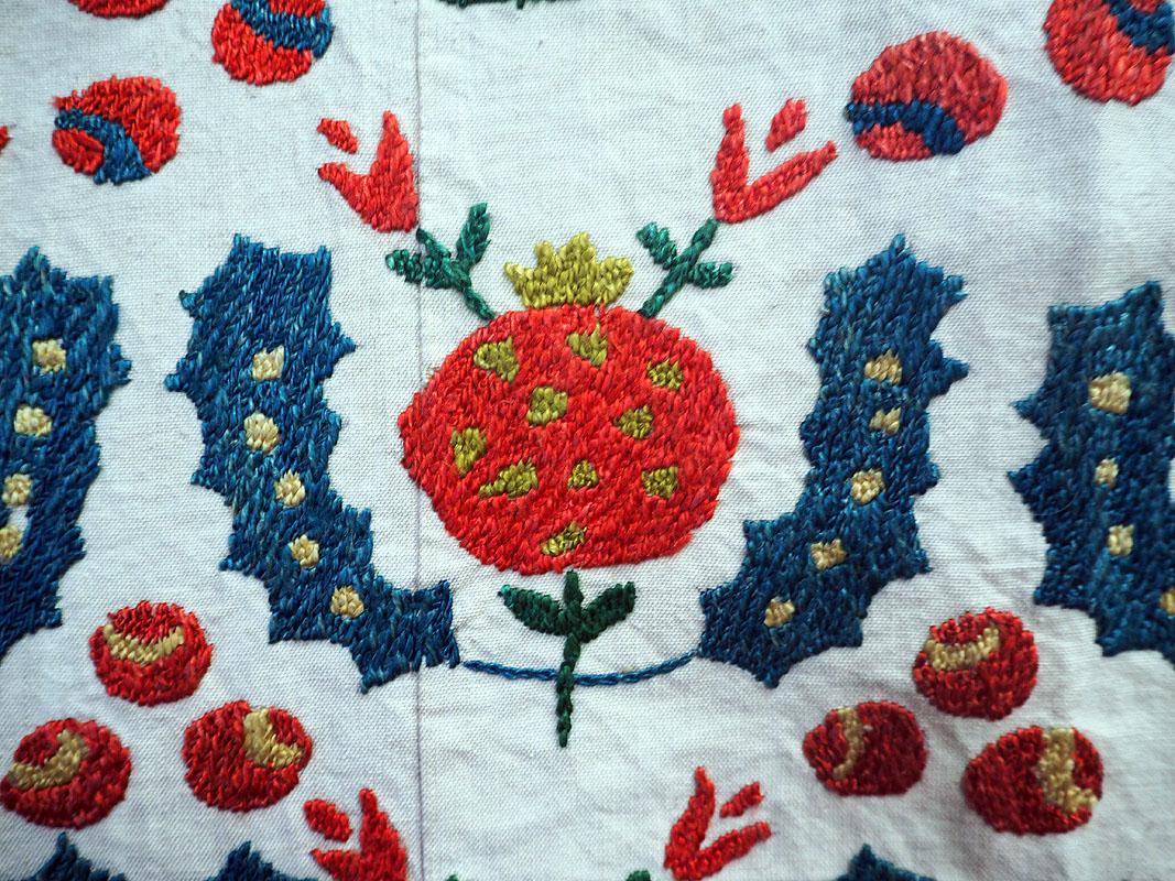 Very Finely embroidered silk on cotton Uzbeki Suzani