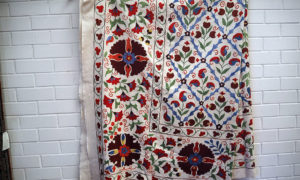 Very finely embroidered silk on cotton Uzbeki Suzani, ideal as a bed spread