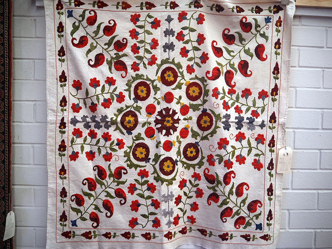 Cotton and Silk emboridered suzani from Uzbekistan