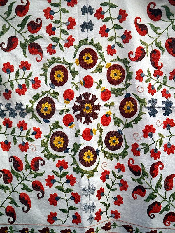 Cotton and Silk emboridered suzani from Uzbekistan
