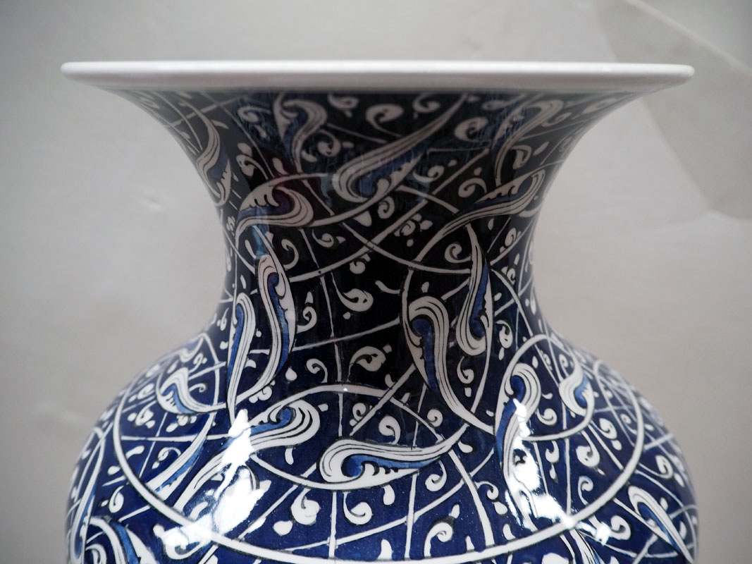 Hand painted Iznik style Turkish Baluster vase