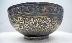 Ottoman period engraved brass bowl