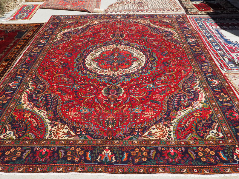 Hand knotted wool on cotton carpet from Persia Tabriz garden design, approximately 50 years old
