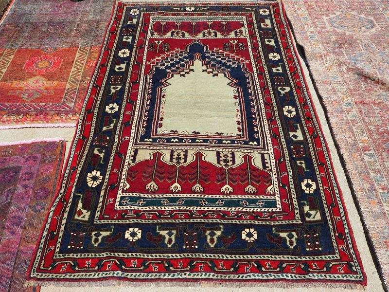Double knotted hand made wool on wool carpet from Turkey Konya, approximately 30 - 40 years old