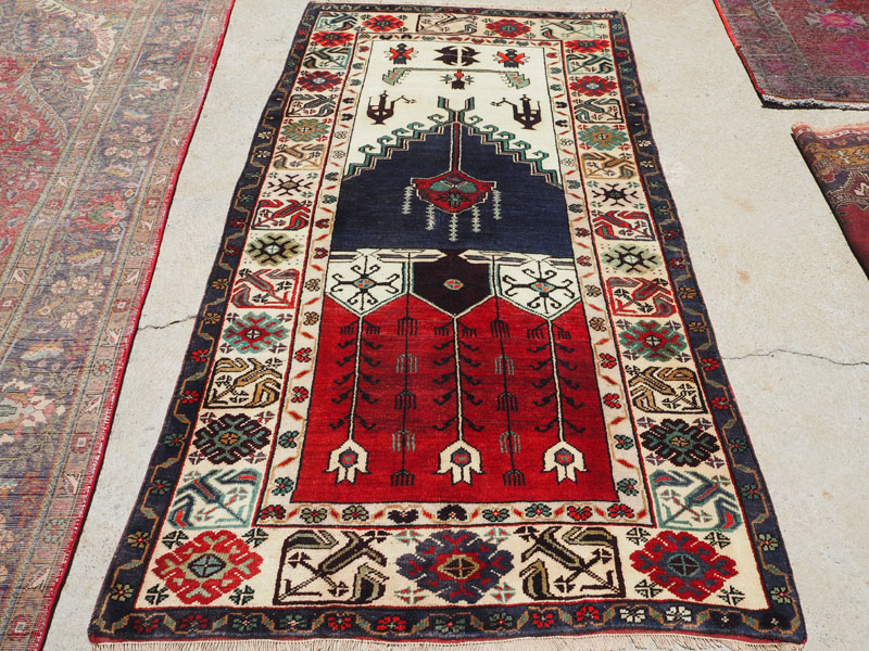 Hand made double knotted wool on wool Turkish carpet from Konya, approximately 60 years old