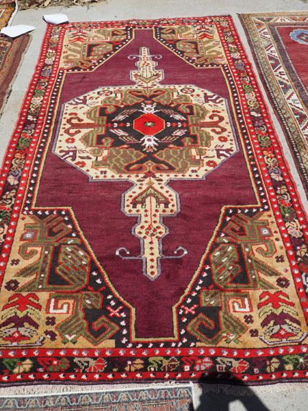 Hand made Double knotted Turkish carpet from Konya Yesilova, approximately 50 years old