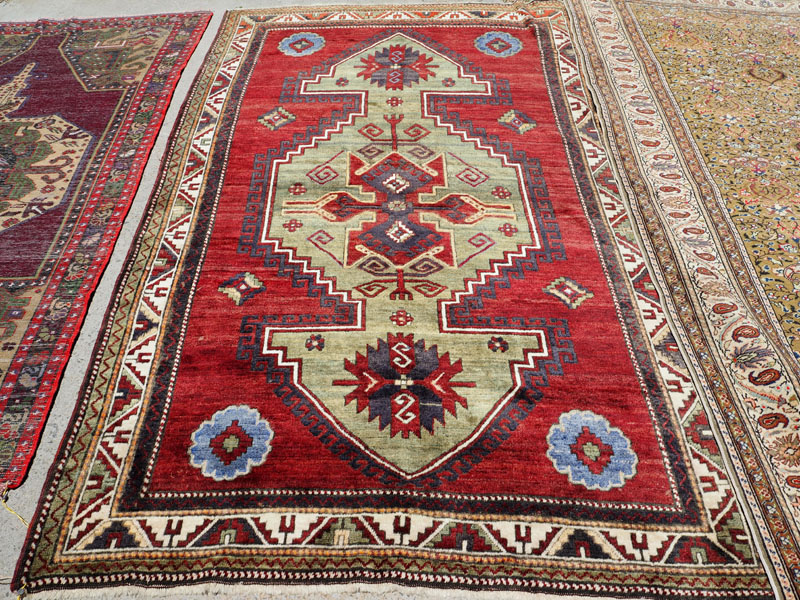 Hand knotted wool on wool Caucasian carpet Kazak Shirvan, approximately 70 - 80 years old